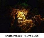 Christmas crib figures representing Holy Family, three wisemen and shepherds - stock photo