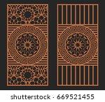 laser cutting set. wall panels. ... | Shutterstock .eps vector #669521455
