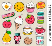 set of fashion patches  cute... | Shutterstock .eps vector #669536182