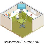 vector isometric office and... | Shutterstock .eps vector #669547702