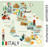 map of italy and travel icons... | Shutterstock .eps vector #669558055