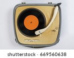 suitcase turntable | Shutterstock . vector #669560638