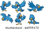 cute cartoon blue birds. vector ...