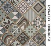 seamless ceramic tile with... | Shutterstock .eps vector #669596605