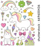 unicorn set | Shutterstock .eps vector #669600436