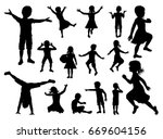 silhouette of boys and girls... | Shutterstock .eps vector #669604156