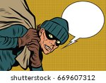 thief robbed bank  full bag of... | Shutterstock .eps vector #669607312