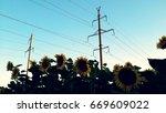 power lines  | Shutterstock . vector #669609022