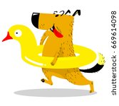 cute dog in a swimming circle... | Shutterstock .eps vector #669614098