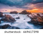 seascape with rocks and sunset...   Shutterstock . vector #669617398