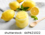 glass jar with yummy lemon curd ... | Shutterstock . vector #669621022