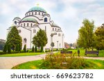 saint sava cathedral in the... | Shutterstock . vector #669623782