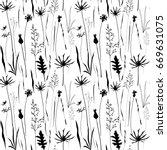 vector floral seamless pattern... | Shutterstock .eps vector #669631075