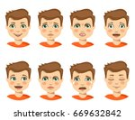 set of boy emotions. schoolboy... | Shutterstock .eps vector #669632842