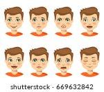 set of boy emotions. schoolboy... | Shutterstock .eps vector #669632842