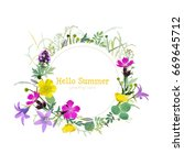 summer floral greeting card.... | Shutterstock .eps vector #669645712