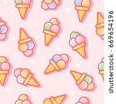 seamless pattern. ice cream on... | Shutterstock .eps vector #669654196