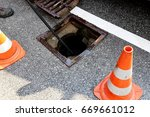 gully cleaning  road drain  | Shutterstock . vector #669661012