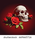 illustration with skull and red ... | Shutterstock .eps vector #669665716