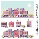 vector low poly buildings and... | Shutterstock .eps vector #669670666