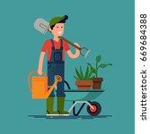cool vector gardener character... | Shutterstock .eps vector #669684388