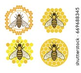 honey bee set. vector. set of... | Shutterstock .eps vector #669688345