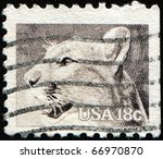 Small photo of UNITED STATES OF AMERICA - CIRCA 1981: A stamp printed in the USA shows cougar, puma, mountain lion, mountain cat, catamount or panther - Puma concolor, circa 1981