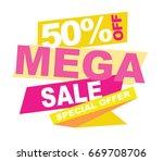 mega sale banner. vector... | Shutterstock .eps vector #669708706