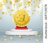 winner background. first place... | Shutterstock .eps vector #669715078