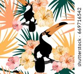 tropical pattern with toucan... | Shutterstock .eps vector #669716542