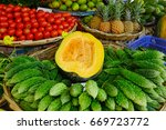 selling fruits and vegetables... | Shutterstock . vector #669723772