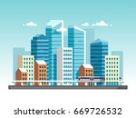 city downtown landscape with... | Shutterstock .eps vector #669726532