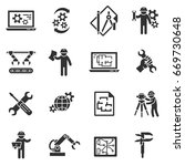 engineering. monochrome icons.... | Shutterstock .eps vector #669730648