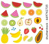 set of isolated fruits   vector ... | Shutterstock .eps vector #669742735