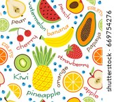 seamless pattern with fruits... | Shutterstock .eps vector #669754276