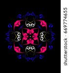 ornament on a black background. ... | Shutterstock . vector #669774655