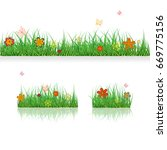 set green grass borders with... | Shutterstock .eps vector #669775156