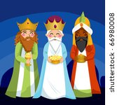 three wise men bring gifts to... | Shutterstock .eps vector #66980008