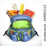 schoolbag. backpack with school ... | Shutterstock .eps vector #669801112