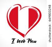 love peru flag emblem. flag in...   Shutterstock .eps vector #669803248