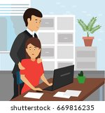 boss touching the arm to... | Shutterstock .eps vector #669816235