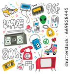 Vintage 80's 90's Doodle With...