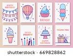 cute birthday cards. linear...   Shutterstock .eps vector #669828862