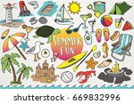 hand drawn beach   summer clip... | Shutterstock .eps vector #669832996