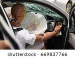 crash test dummies in a car...   Shutterstock . vector #669837766
