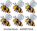 bee with different facial... | Shutterstock .eps vector #669857626