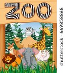 wild animals under zoo sign... | Shutterstock .eps vector #669858868