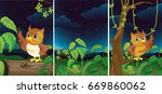 forest scenes with cute owls... | Shutterstock .eps vector #669860062