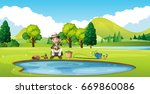 scene with man fishing by the... | Shutterstock .eps vector #669860086