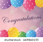 congratulations card with... | Shutterstock .eps vector #669860155